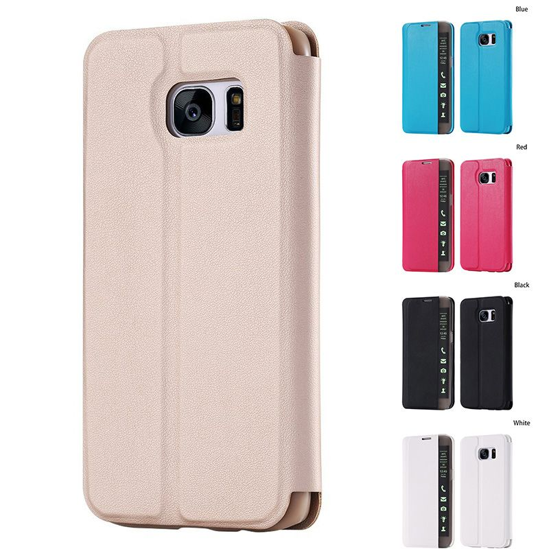 S6 / S6 Edge Case Cover Smart Sleep Flip Stand Leather Case for Samsung Galaxy S6edge Plus LED Light Display View Window Cover