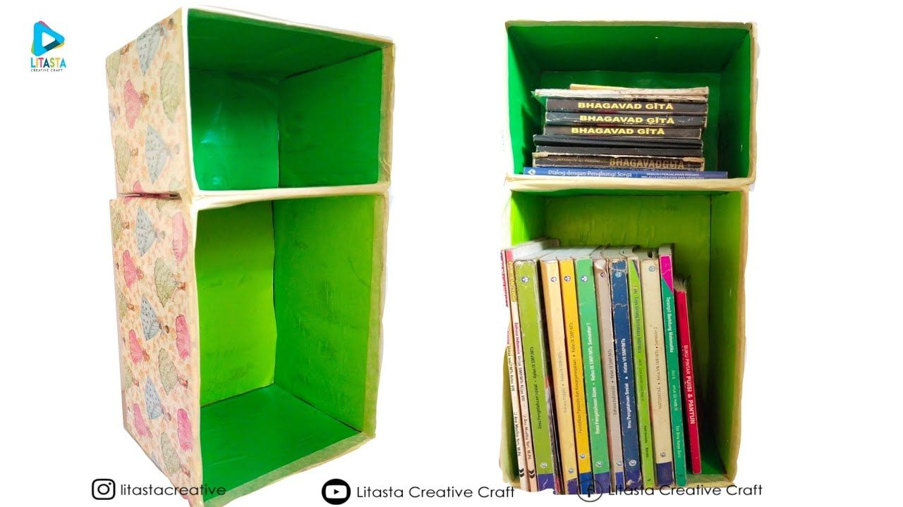 Cara Membuat Rak Buku Dari Kardus Bekas Barang Bekas Home Decor Boo Rak Buku Rak Home Decor