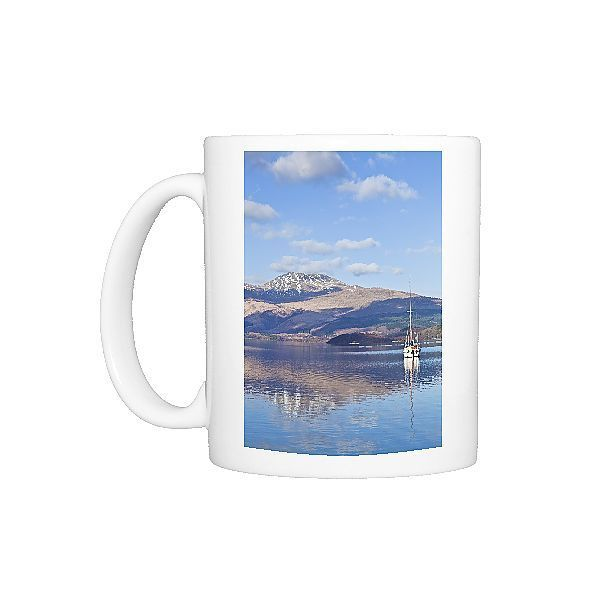 Photo Mug-Picturesque tranquil Loch Lomond with sailing boat, snow covered Beinn Uird behind-Ceramic dishwasher safe mug made in the UK