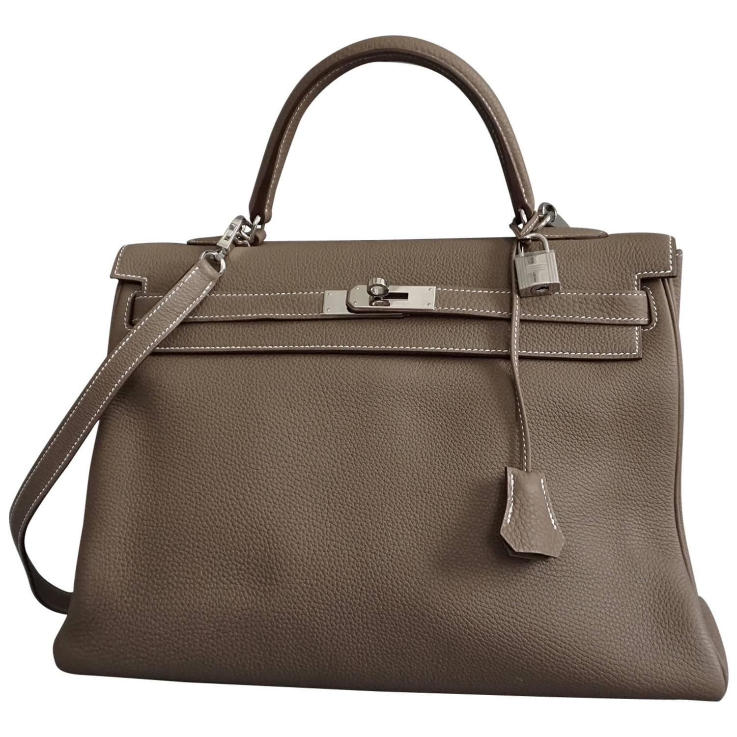 3e6dda6b50a8 HERMES Kelly 35cm Etoupe Soft Leather With PWH