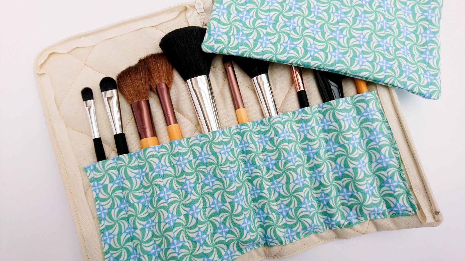 Makeup brush holder and bag, green brush holder, green
