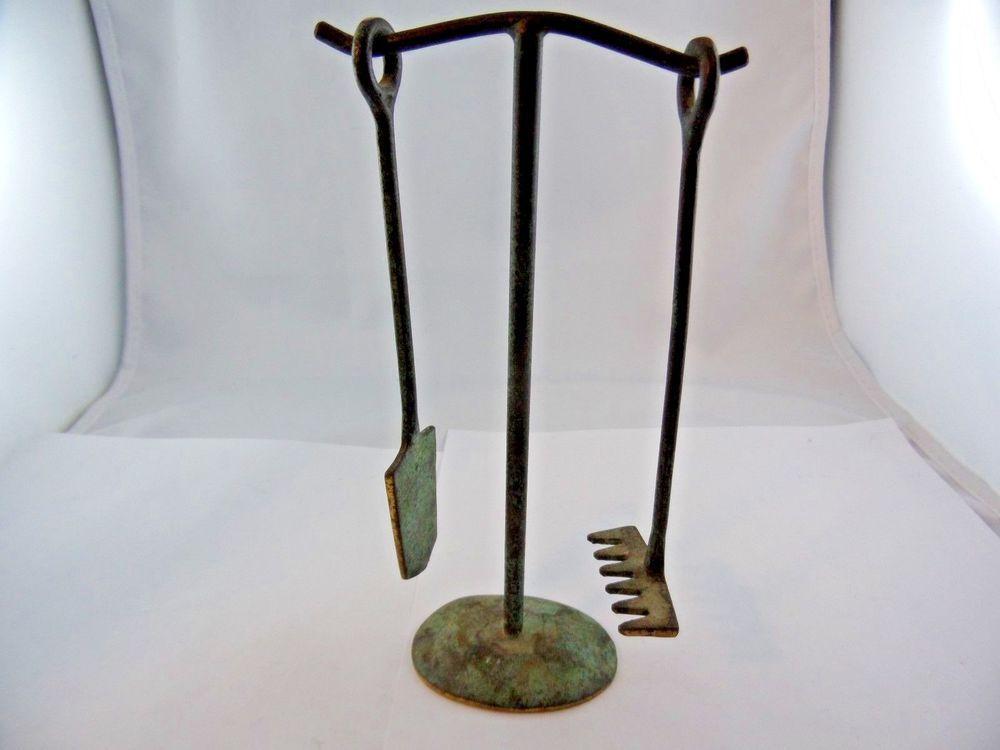 Bronze Werkzeug Zen Garten mit Ständer asiatisch Antik um