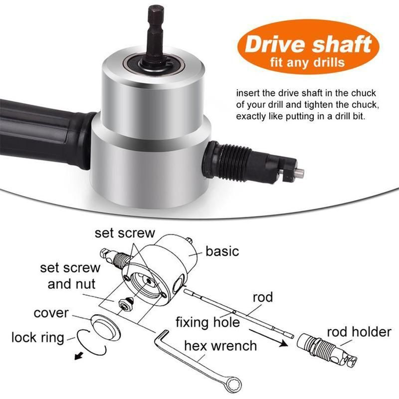 Domom Zipbite Nibbler Cutter Drill Attachment Double Head Metal Sheet Metal Cutter Metal Sheet Drill