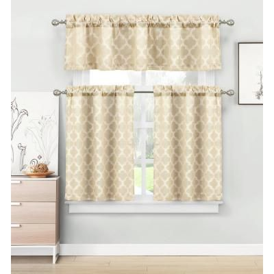 home maison longoria natural beige homemaison jacquard kitchen curtain set - 56 in. w x 15 in. l