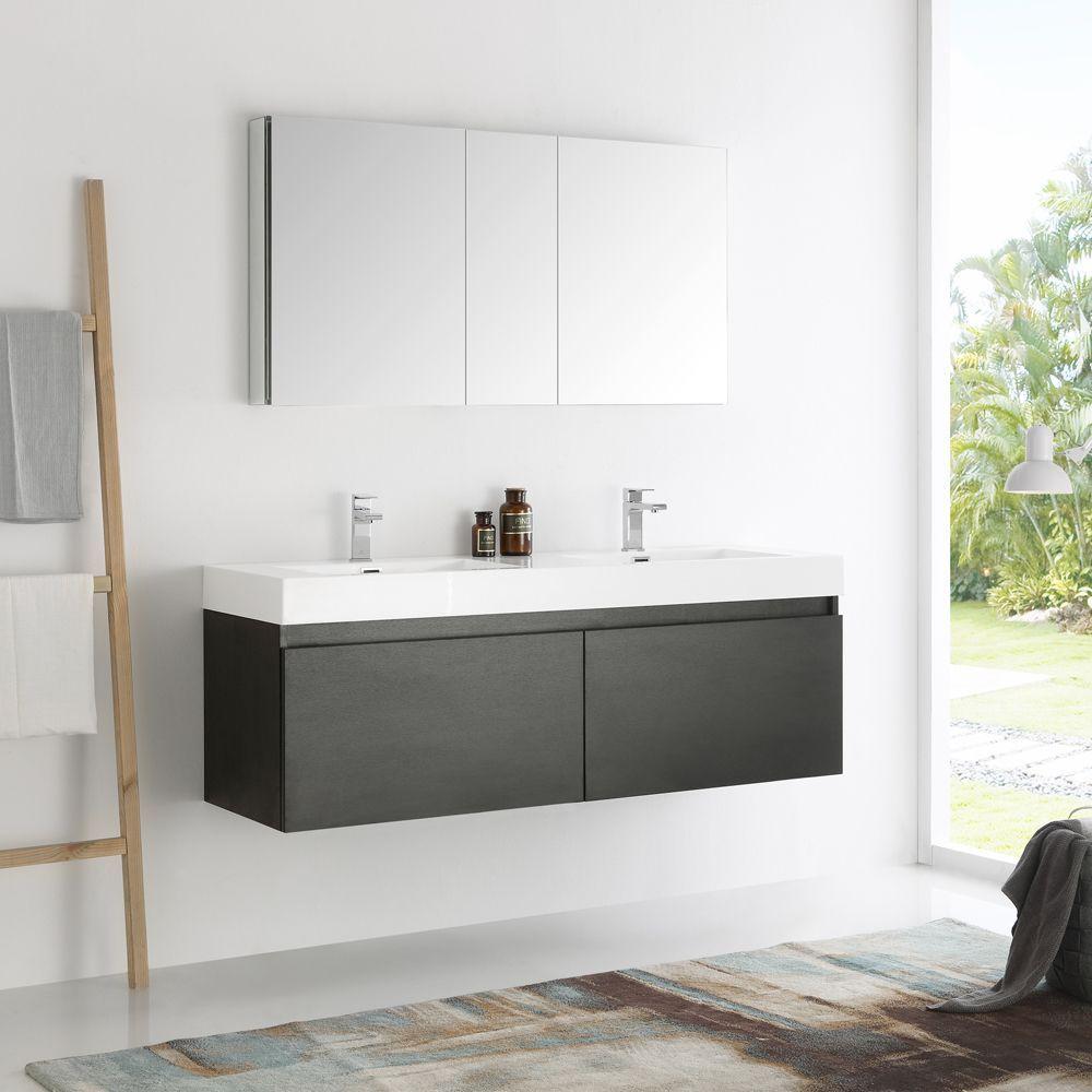 Fresca Mezzo 60 Inch Wall Hung Double Sink Modern Bathroom Vanity
