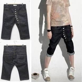 Multi-button denim male casual pants capris 1401k12 . 45