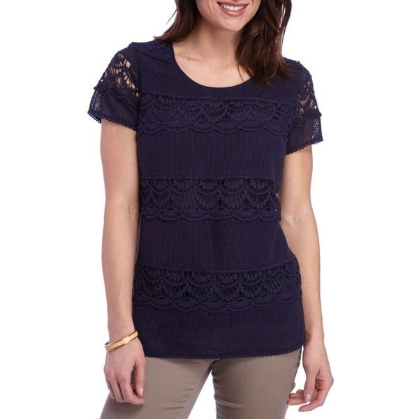 Kim Rogers Navy Netting Short Sleeve Layer Lace Solid Tee - Women's ($15) ❤ liked on Polyvore featuring tops, t-shirts, navy netting, colorful t shirts, purple lace top, purple t shirt, net t shirt and short sleeve t shirts