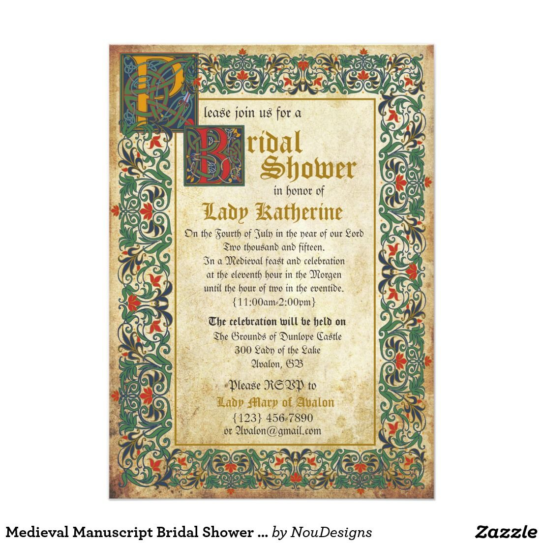 28 Best Medieval Wedding Invitations Images On Pinterest: Medieval Manuscript Bridal Shower Invitation Card