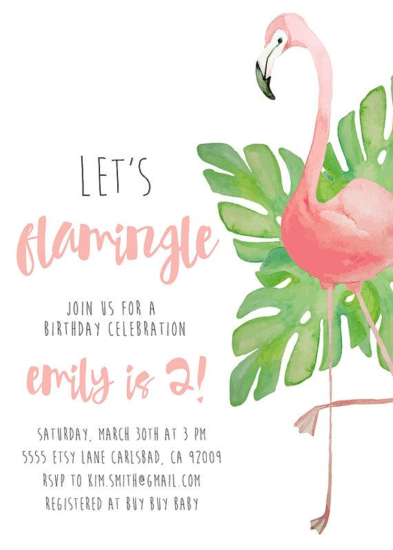 Flamingo Party Birthday Invitation Tropical Watercolor