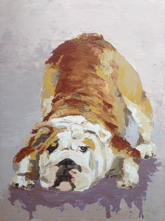 ea650d99a00c English Bulldog Portrait,Custom Pet Portrait,Bulldog Art,Modern Abstract Art,Large  Canvas Art,Impres