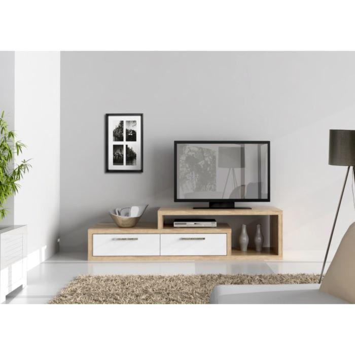MEUBLE TV - HI-FI SHINE Meuble TV 169cm Chêne et Blanc brillant TV