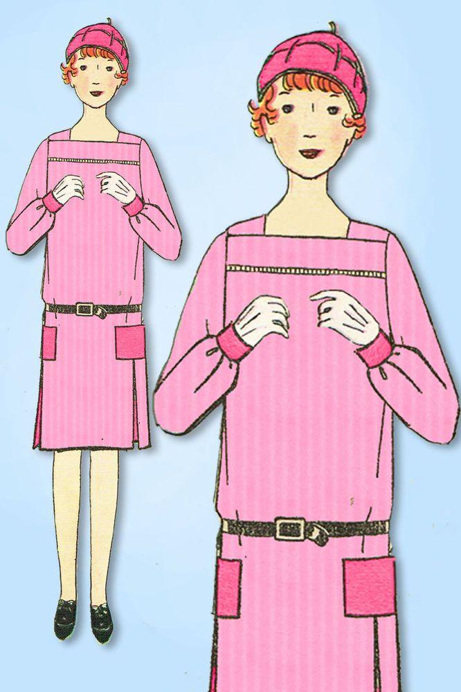 1920s Vintage Ladies Home Journal Sewing Pattern 5483 FF Girls Flapper Dress 10 #LadiesHomeJournal #FlapperDressPattern