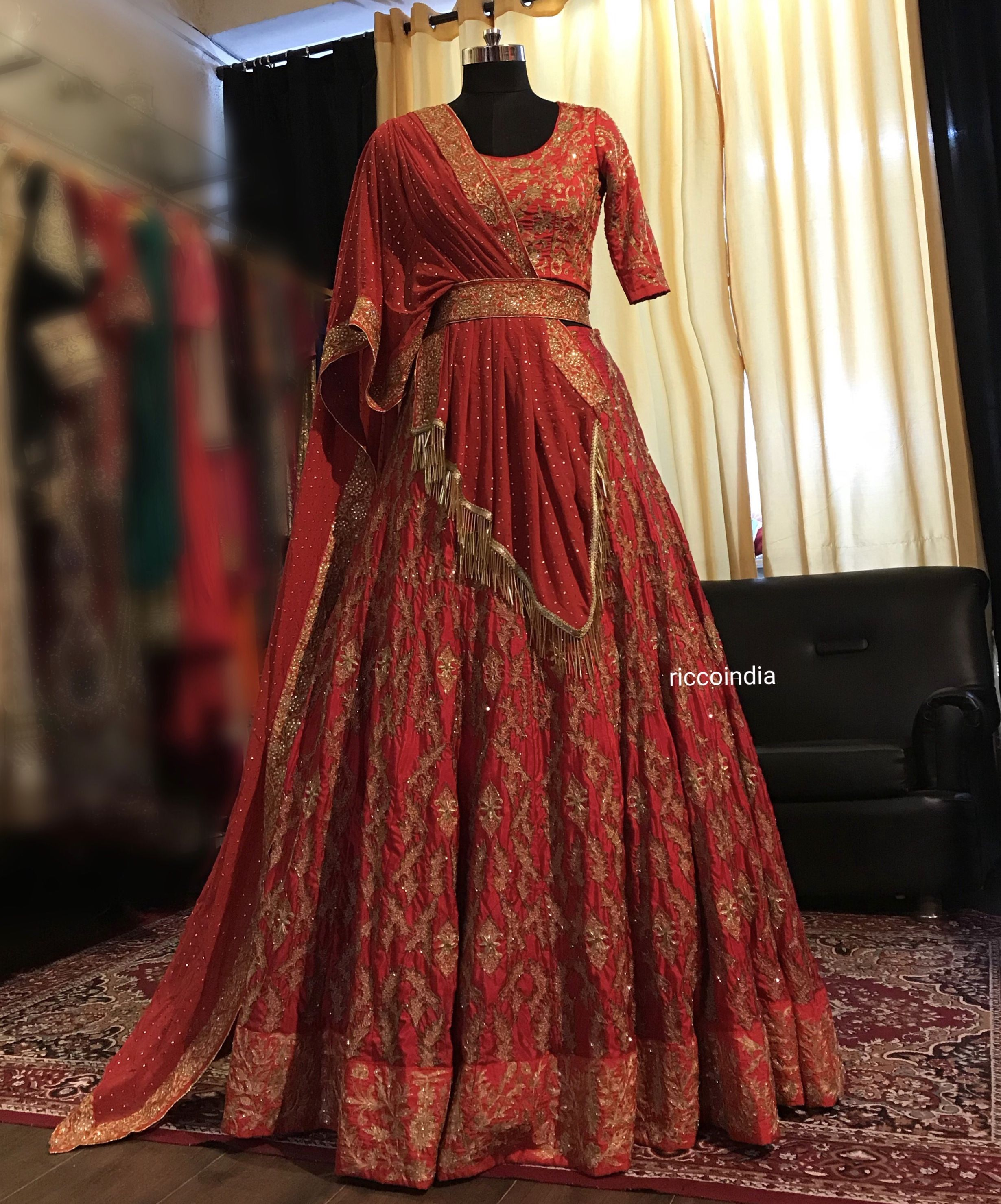 715fbd7ce7c Red glass beads embroidery Lehenga with draped Mukesh work dupatta ...