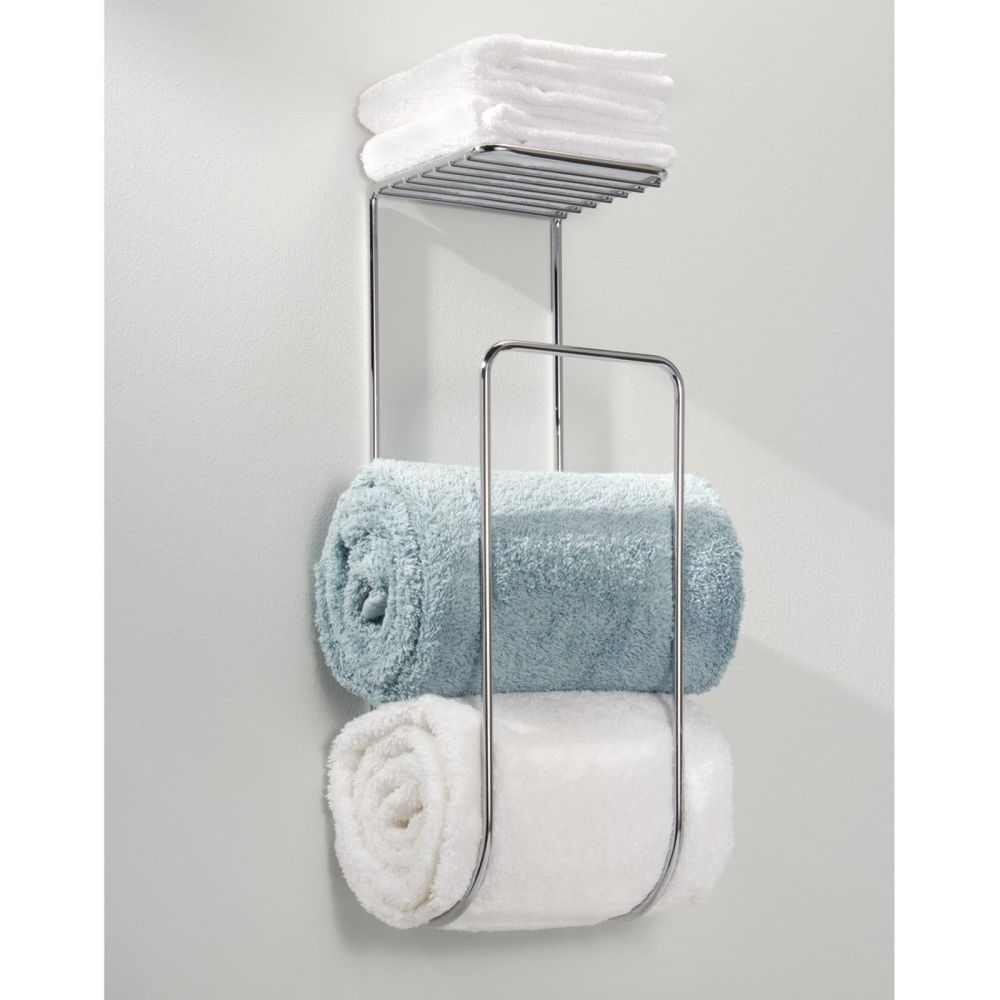 Wall Mounted Towel Rack Bathroom Hotel Rail Holder Storage Shelf ...