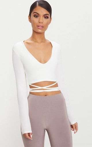 bb6f5961b11 White Slinky Long Sleeve Tie Waist Crop Top | The Trend | Crop tops ...