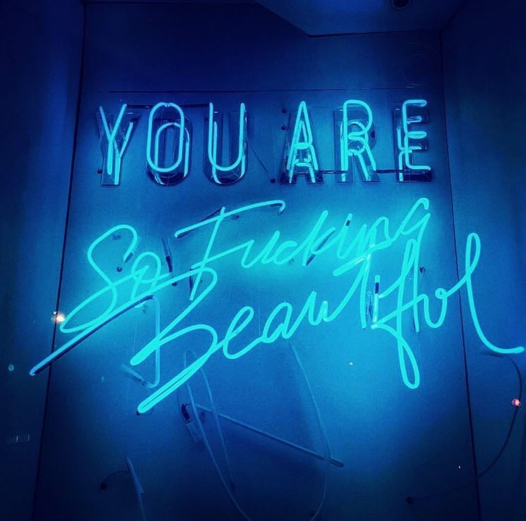 Positive Quote By Coco Ayoo Blue Neon Lights Neon Words Baby Blue Aesthetic