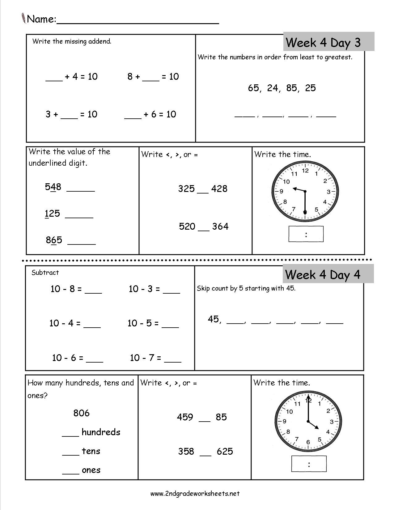 Free 2nd Grade Daily Math Worksheets   Math review worksheets [ 1650 x 1275 Pixel ]