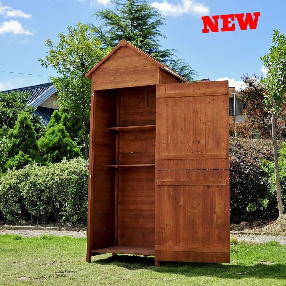 Small Garden Sheds Wooden Outdoor Raised Tool Cabinet Storage ...