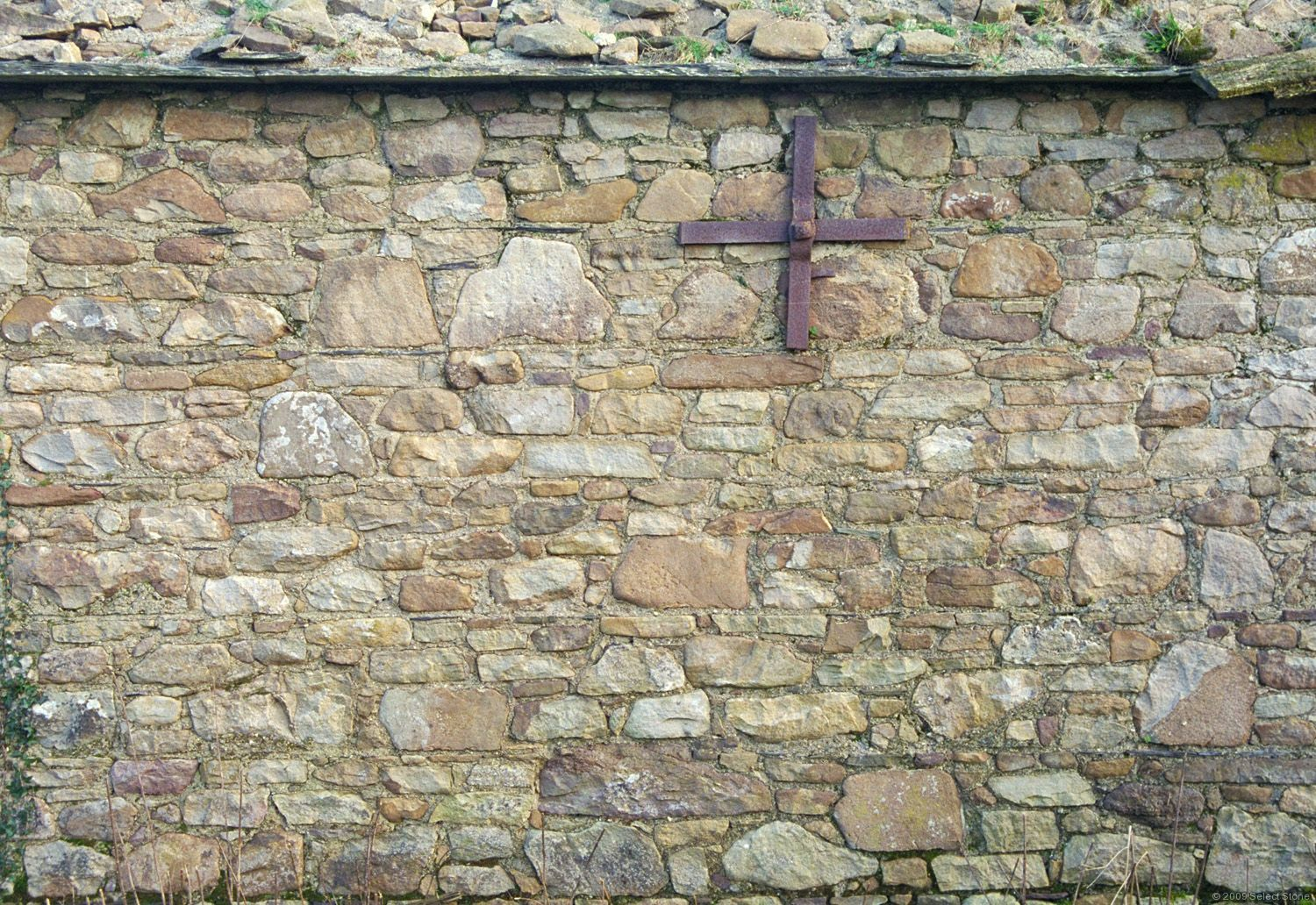 Coursed Rubble Fieldstone Wall In County Tipperary