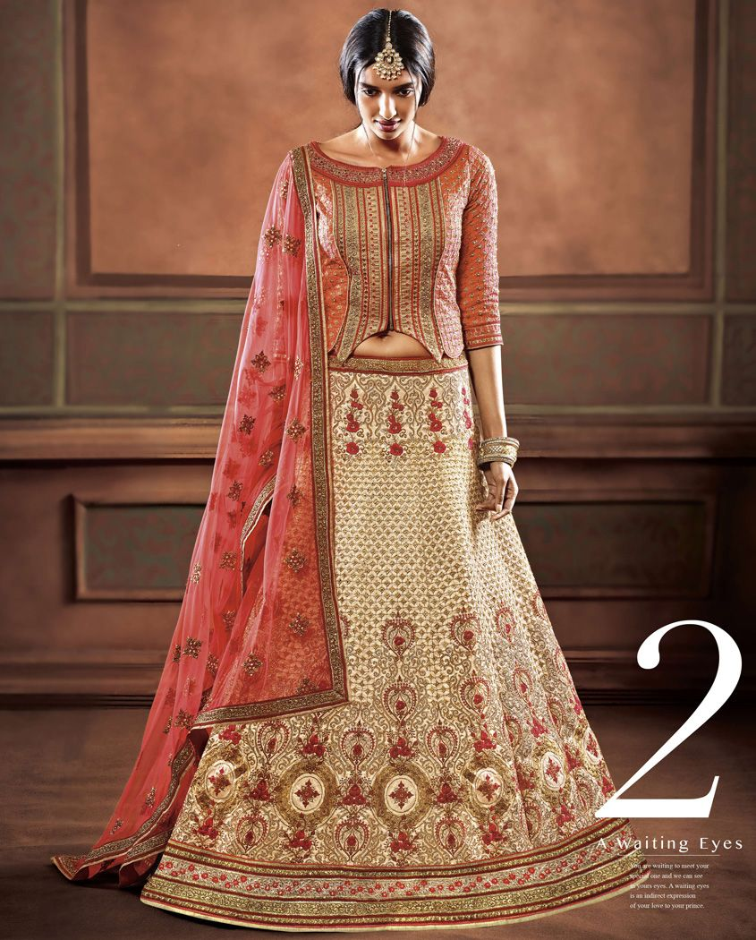 1. Red and white silk embroidery party wear lehenga 2