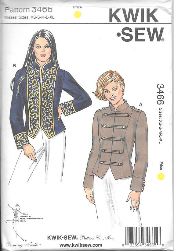 Kwik Sew 3466 UNCUT Misses Fitted Band Jacket Sewing Pattern ...