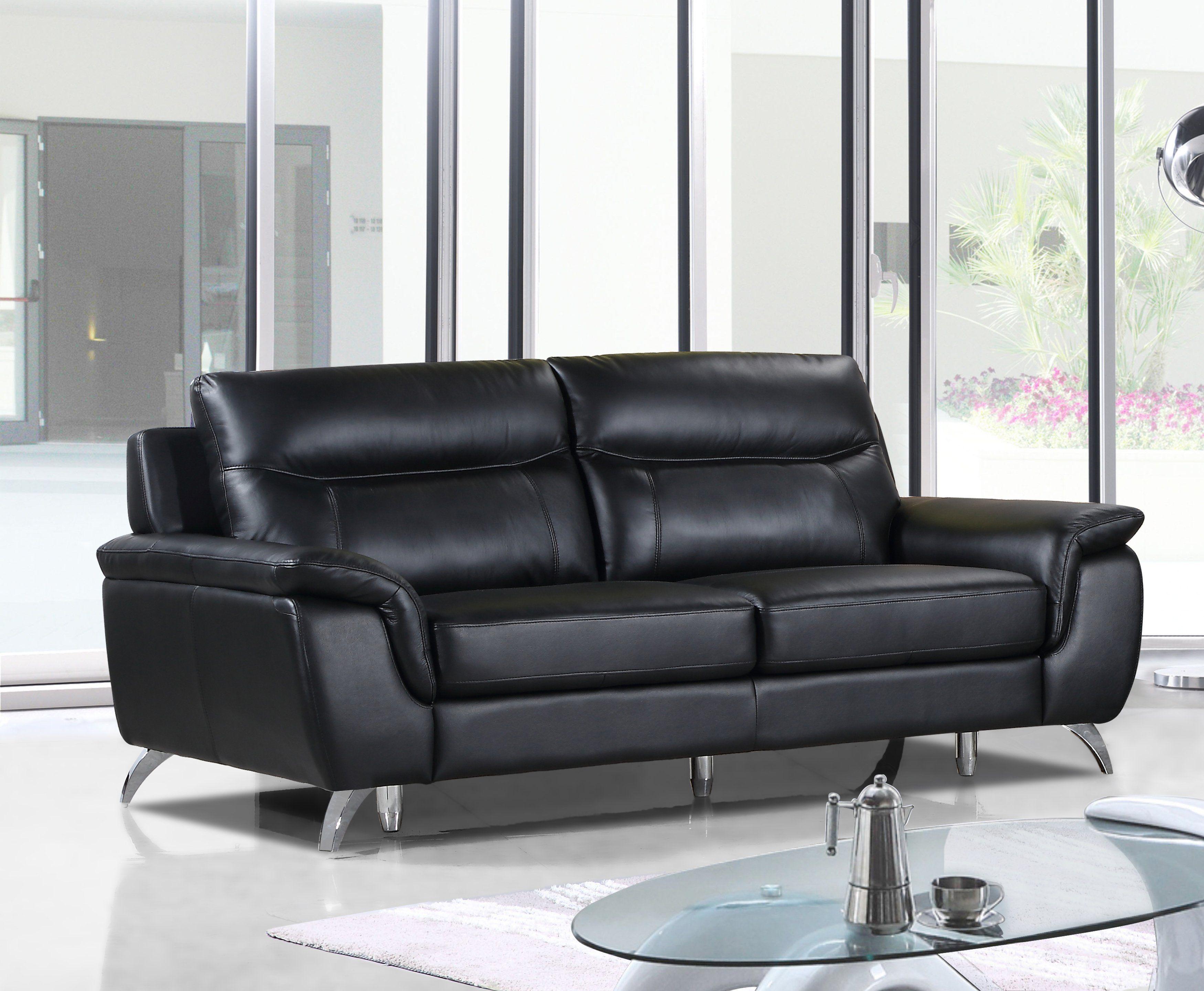 Cortesi Home Chicago Genuine Leather Sofa, Black 79 ...