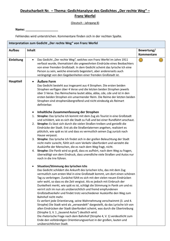 Grossstadtlyrik Klassenarbeit Vollstandigen Inhaltlichen Bewertungsbogen Franz Werfel In 2020 Klassenarbeiten Lernen Tipps Schule Gedicht Analyse