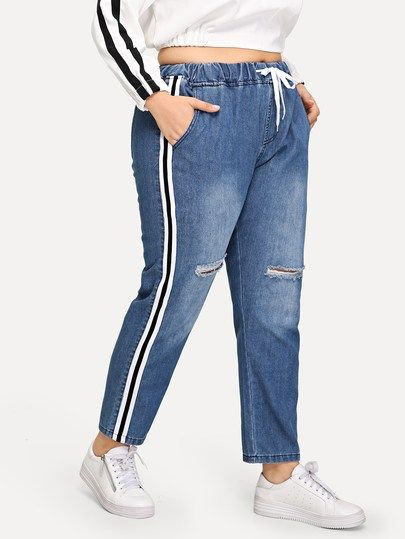 9ac46520541 Plus Drawstring Waist Side Ripped Jeans Plus Size Winter Outfits