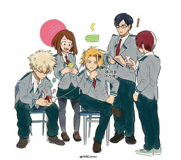 Katsuki Ochako Denki Tenya Shouto Charging Devices Phones Electricity Text Funny My Hero Academia My Hero Hero My Hero Academia Manga