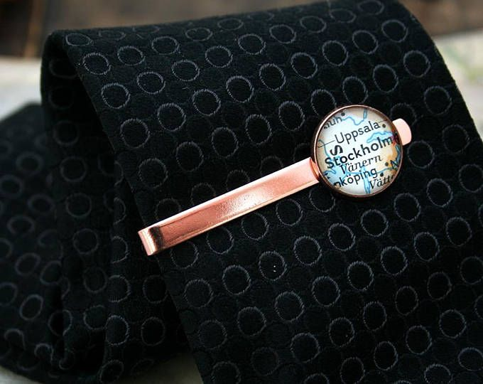 478e0771f02d Tie bar - Custom map tie clip in rose gold color / KfiatekGiftedHands  available in her Etsy shop. Custom with any location you want. vintage map  on rose ...