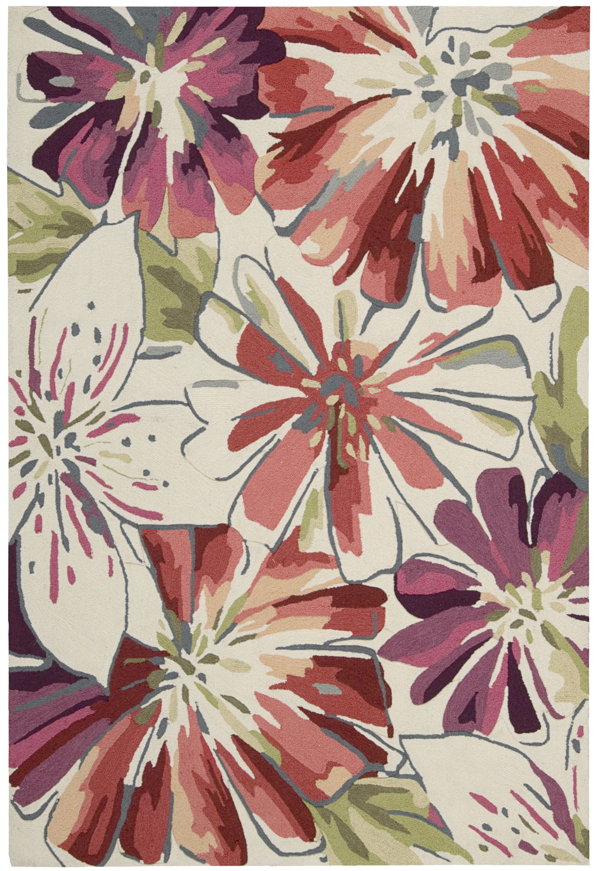 Nourison S Fantasy Collection Rug Highlights Hues Of Rose Vermillion Lavender Lilac And White