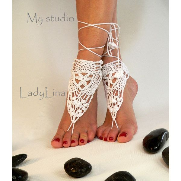 Crochet Barefoot Sandals, Victorian Lace, Foot jewelry, Wedding,... ($15) ❤ liked on Polyvore