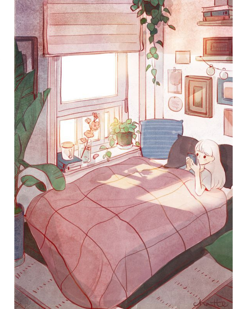 Aesthetic Modern Anime Bedroom With Tv
