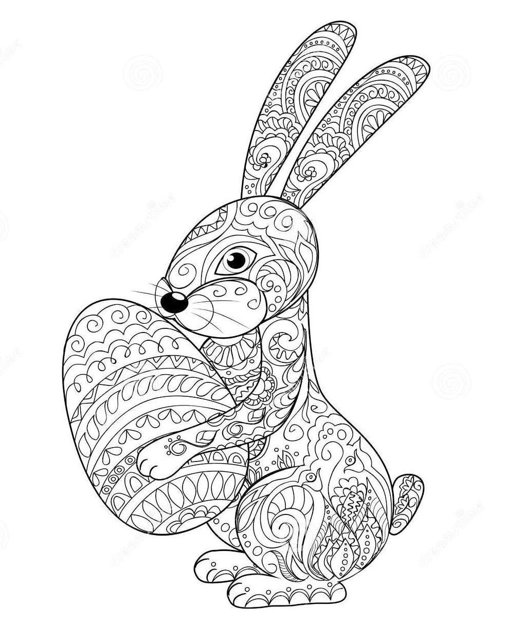 Zentangle Rabbit Easter Coloring Page Knutselen Pasen Paashaas Mandala