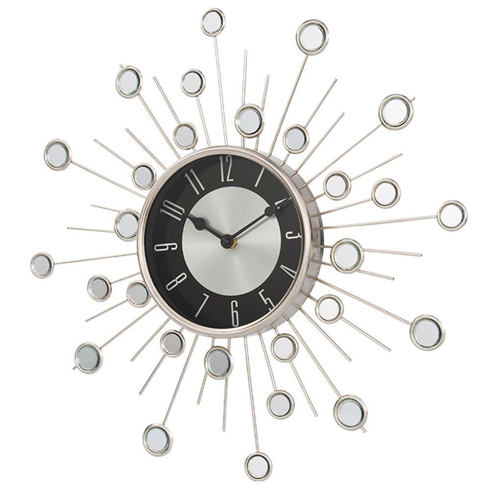 Home Modern Satellite Sunburst Starburst Clock Mirror Effect Wall Decor Silver Ebay Clock Mirror Effect Starburst