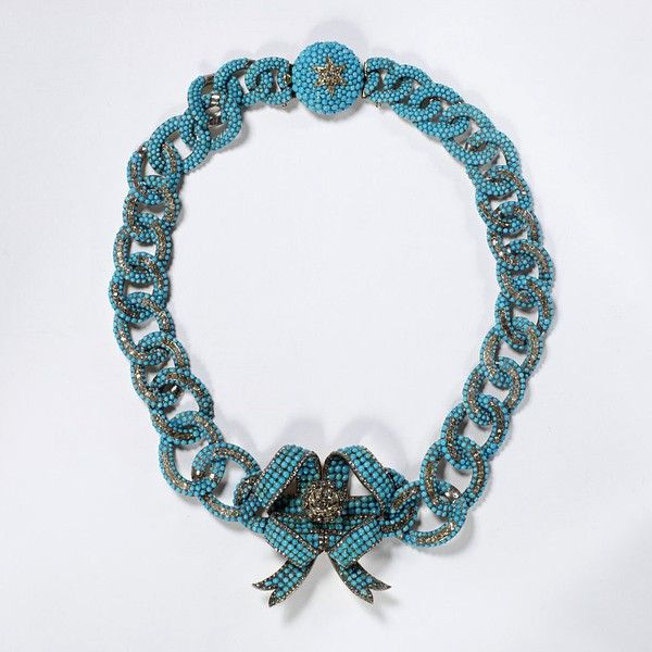 Stalking the Belle Époque: Mastery of Design: A Pavé Turquoise and Diamond Necklace, circa 1850