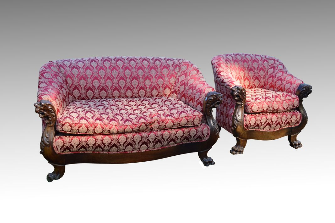 SOLD Victorian Two Piece Comfortable Parlor Set with Lions Heads ...