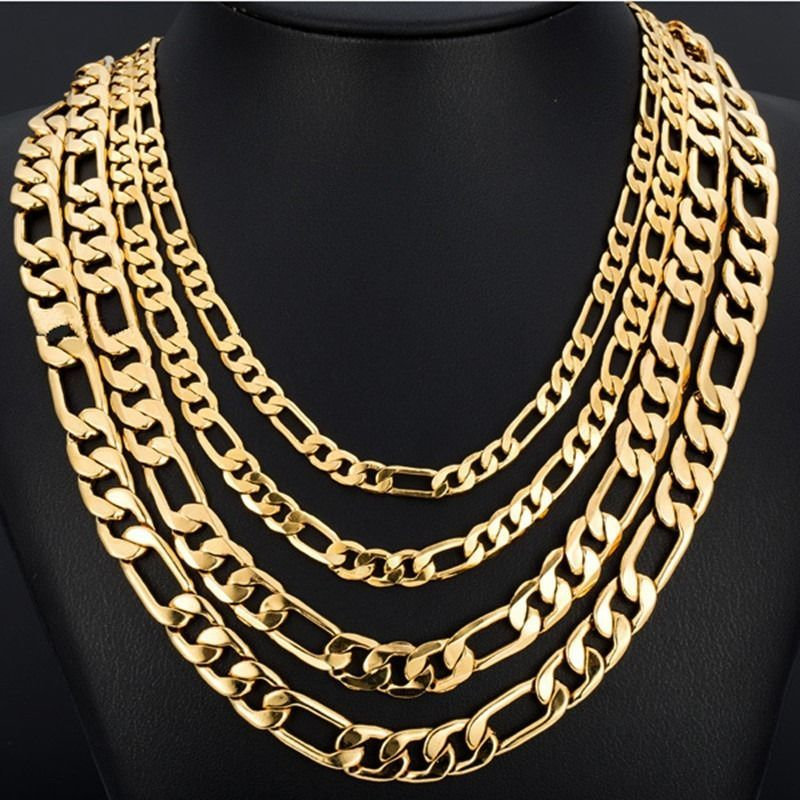 0ea30e3d965 3/4/5/6/7/8Mm Wide Gold Color Stainless Steel Figaro Chain Necklace ...