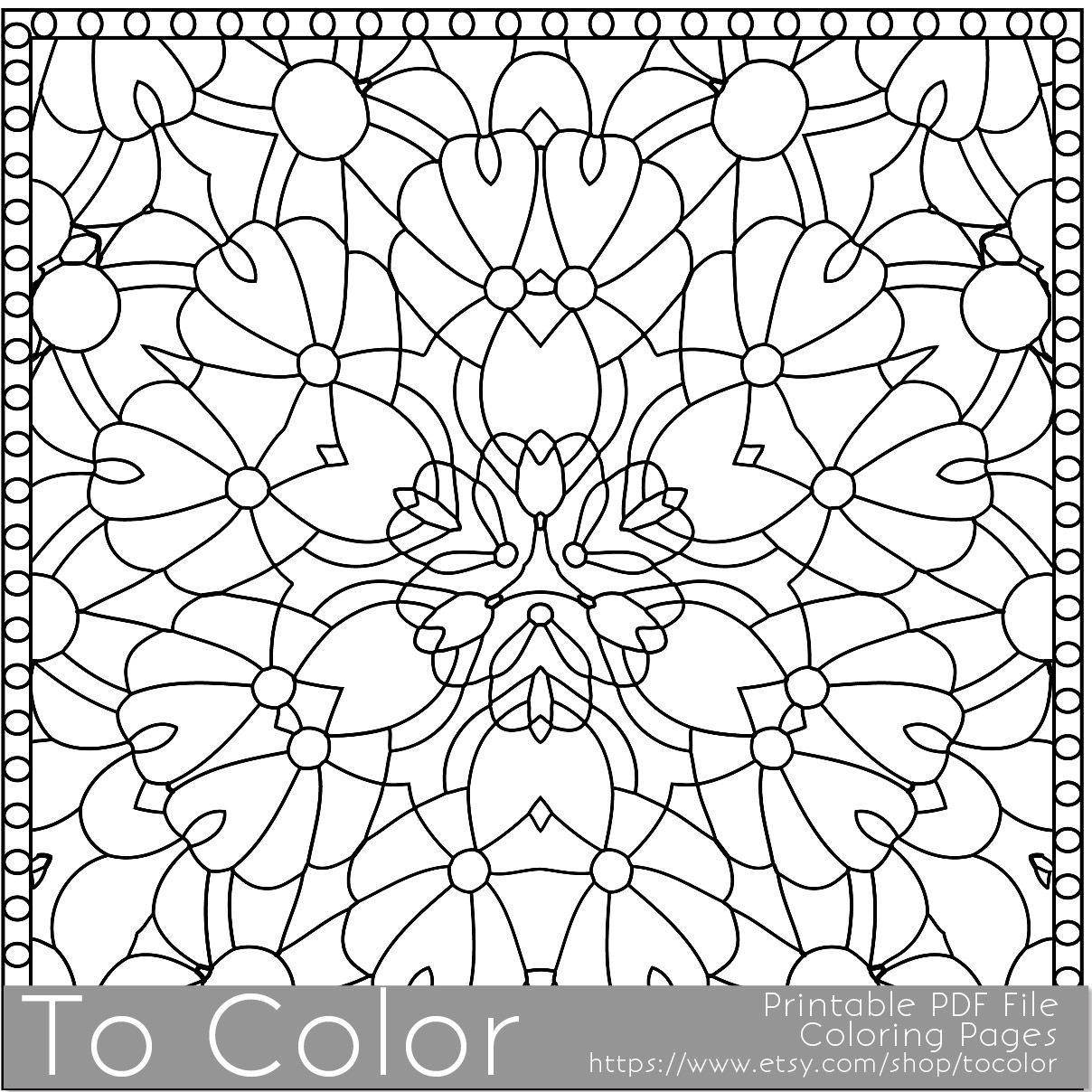 This is a geometric mandala pattern printable coloring page for ...