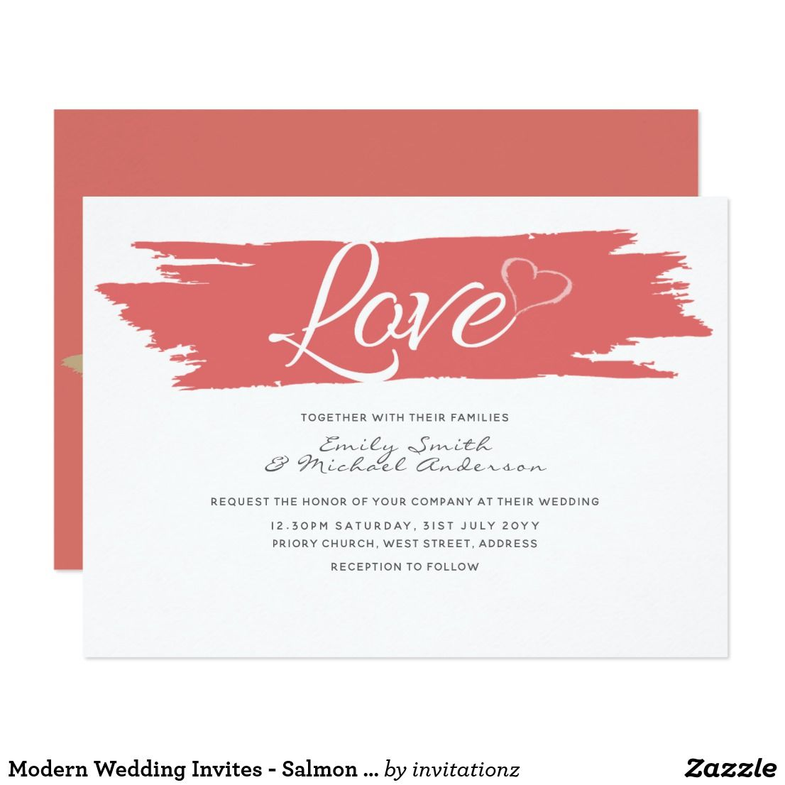 Modern Wedding Invites - Salmon Pink | Gift Ideas Generator | Pinterest