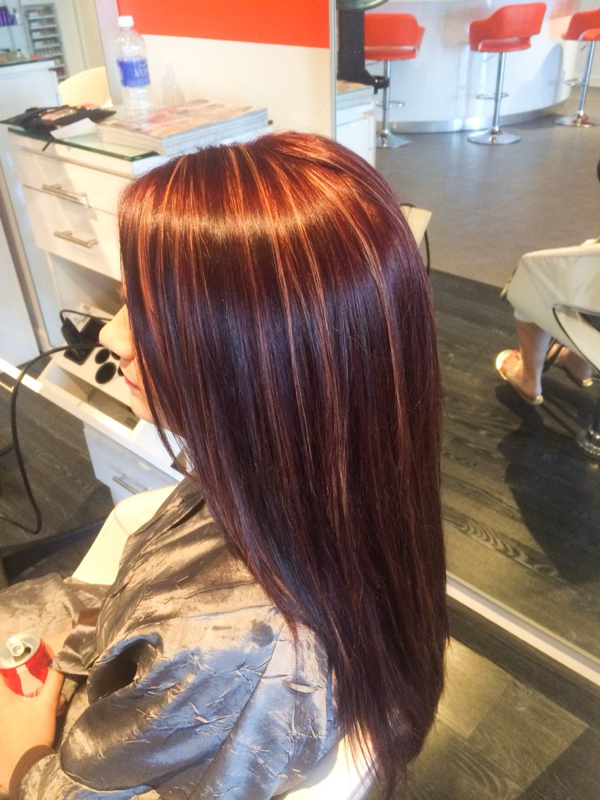Redviolet with copper highlights red blonde highlights