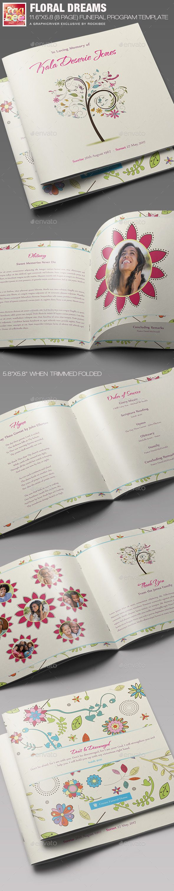 Floral Dreams Funeral Program Template  Program Template Funeral