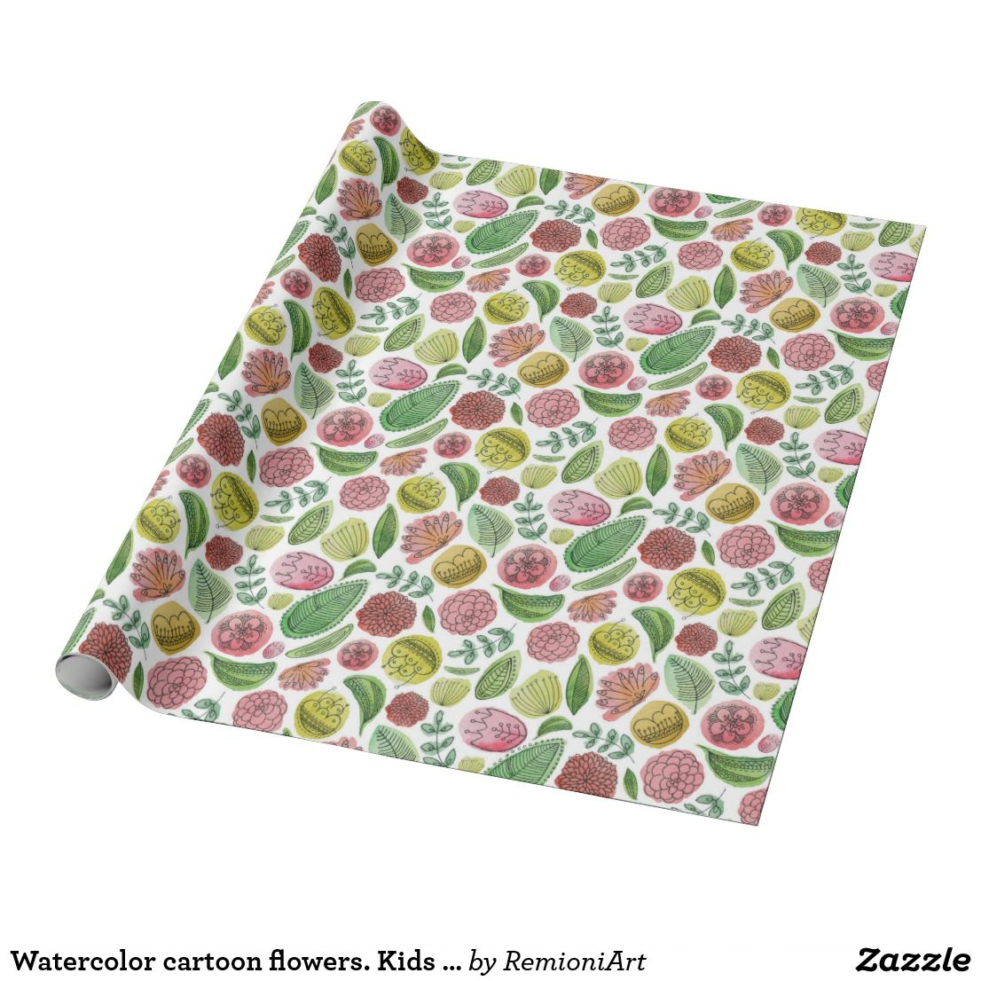 Watercolor Cartoon Flowers Kids Abstract Floral Wrapping Paper