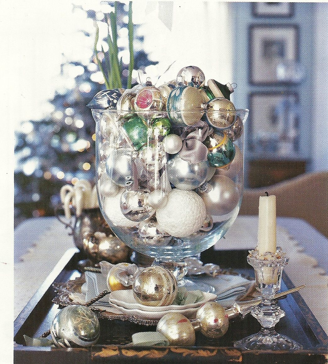 Fill A Big Glass Bowl With Old Ornaments Vintage Christmas