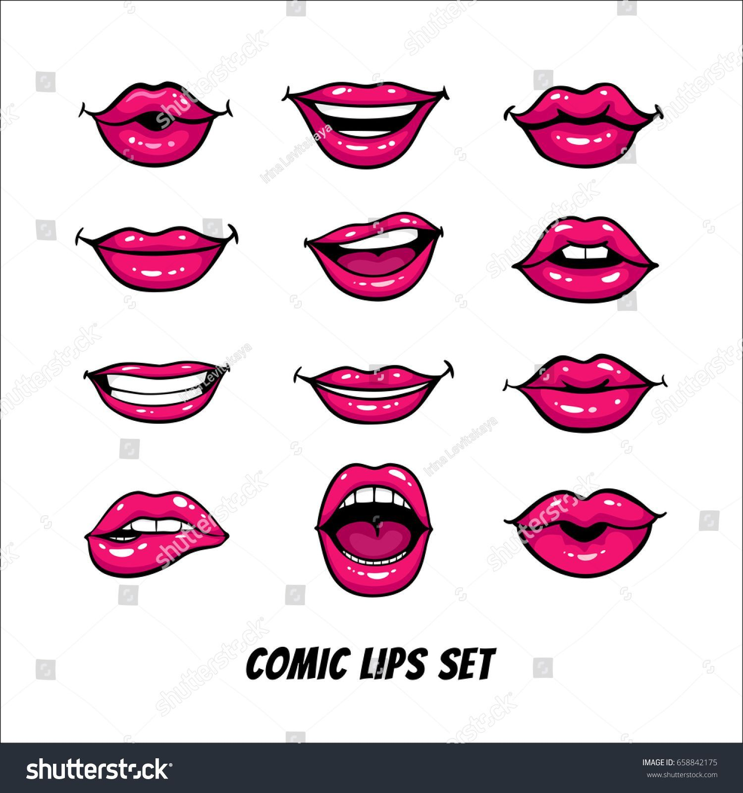 Comic Female Lips Set Mouth Kiss Stock Vector (Royalty