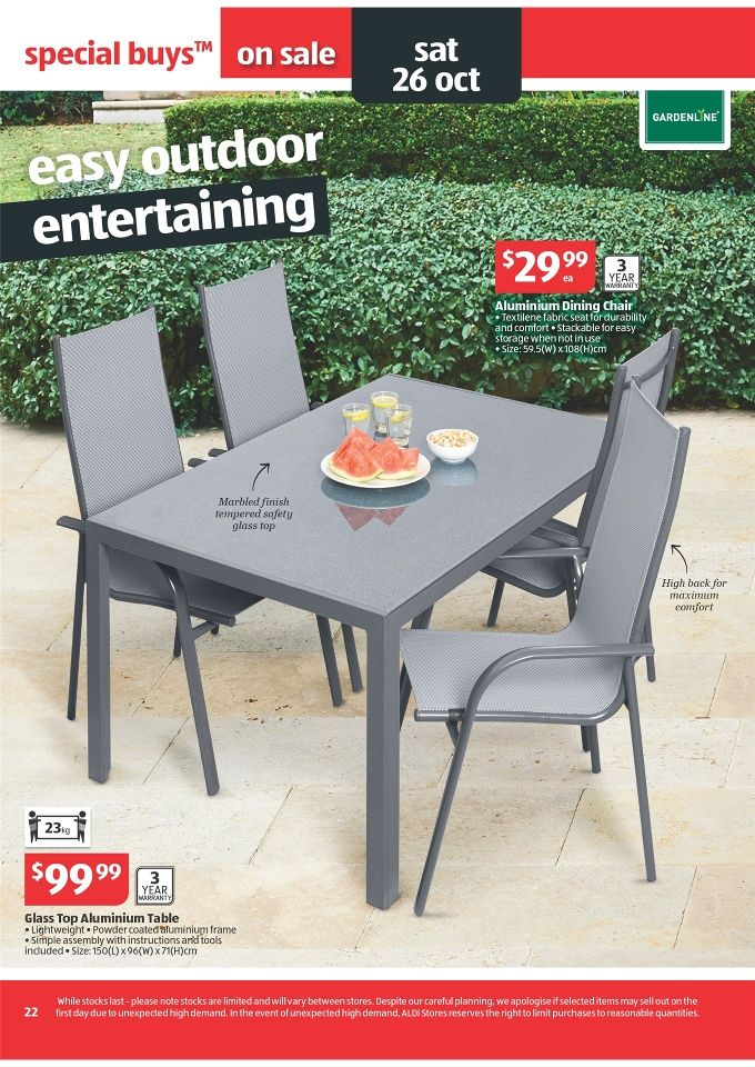 Image result for aldi glass outdoor table Aluminum table