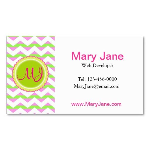 Green purple and white chevron custom monogram business card ...
