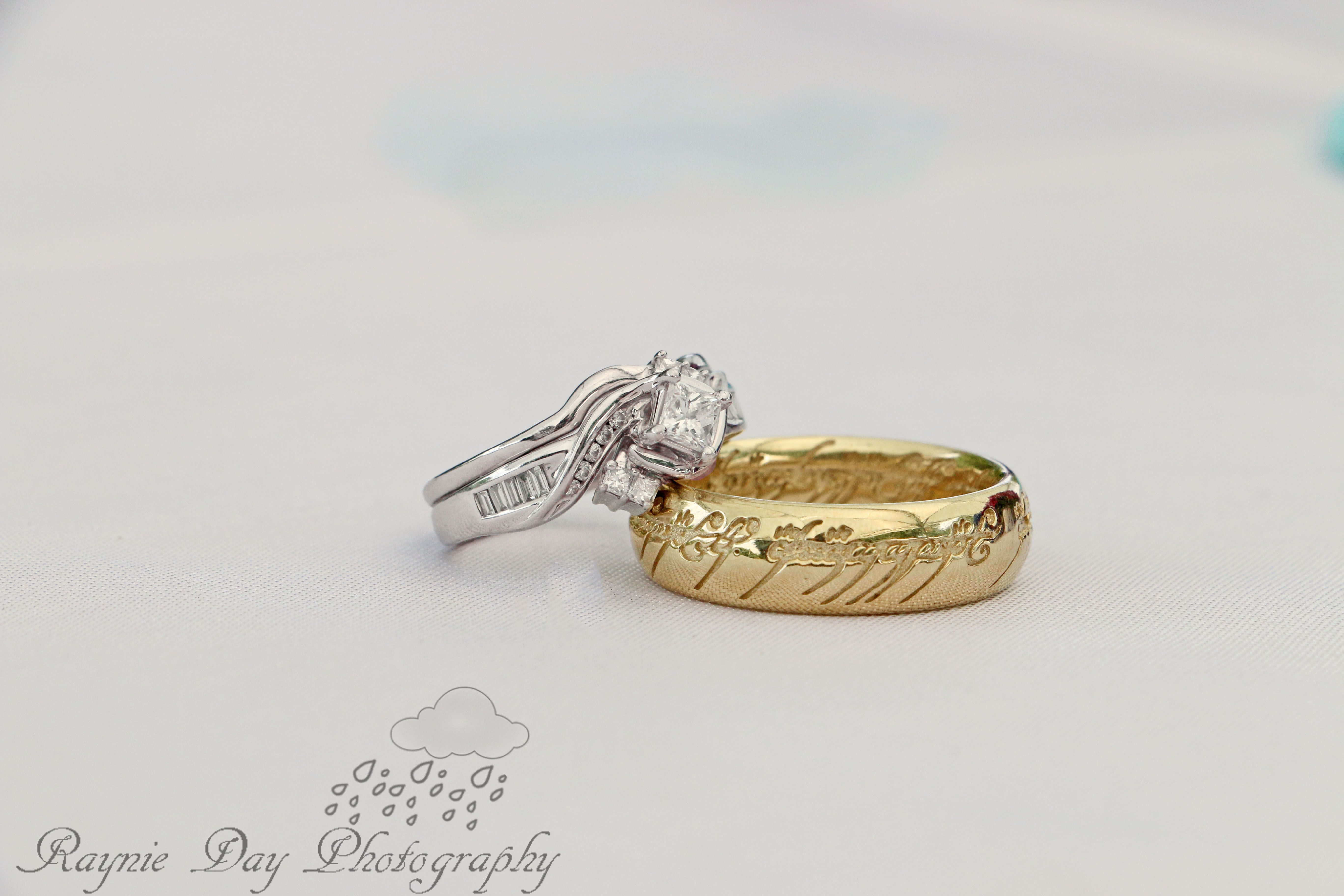The One Ring Wedding Band Lord Of The Rings Wedding Theme Element Photo By Raynie Day Photography Www Rayniedayphot Wedding Ring Bands One Ring Wedding Rings