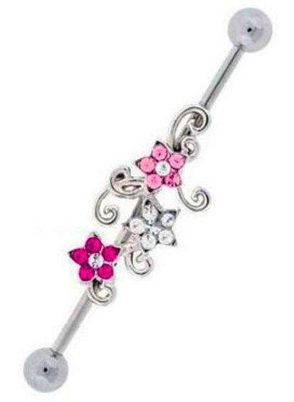 Industrial Piercings Flower Barbells Daisy Flower Industrial Barbell You Choose Crystal Color Scaffold Earrings