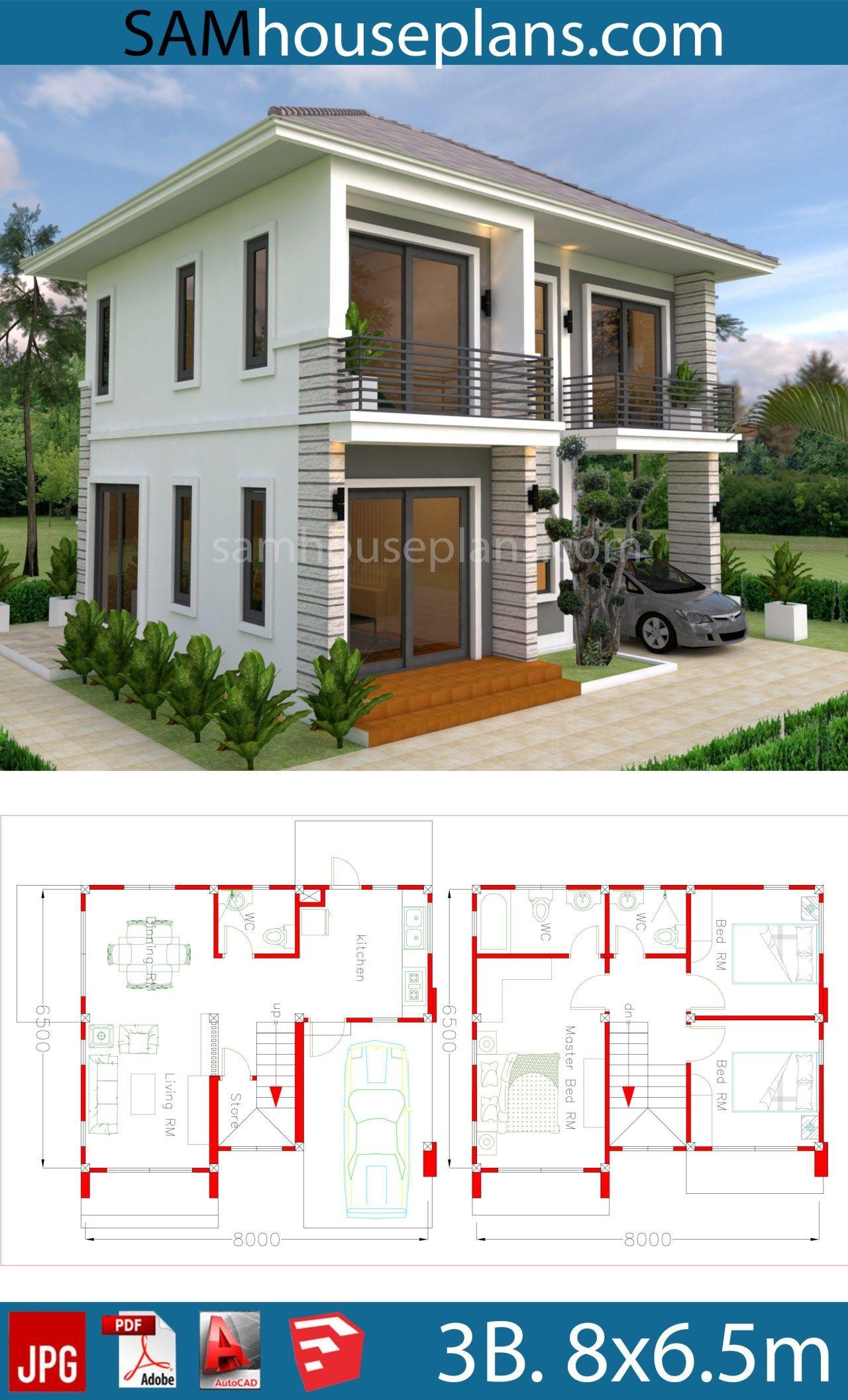 House Plans 8x6 5m With 3 Bedrooms Plan Maison Architecte Plans